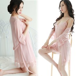 Wholesale Adult See Through Dresses - A set of three adult sexy lace pajamas sexy lingerie see-through dress trade Ms. gauze nightdress