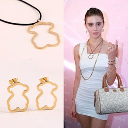 Wholesale gold rope china - 2018 Trendy style hollow out bear jewelry stud earrings and necklace with rope fashion match Female Jewelry set