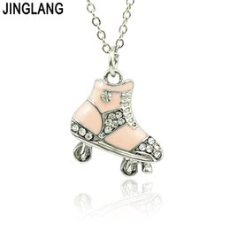 Wholesale Roller Skate Charms - JINGLANG Brand New Fashion Metal Rhinestone Roller Skates Charm Pendants Necklace For Children Jewelry Gift