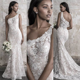 vestiti james Sconti Madison James Fall 2018 Abito da sposa a sirena Elegante One spalla pizzo Applique Sweep Train Abiti da sposa di lusso su misura
