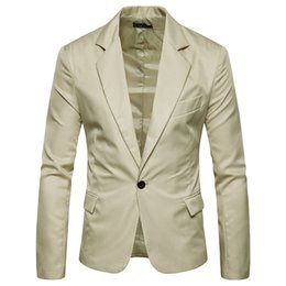 Blazers minces pour les hommes coréens en Ligne-Korean Solid Men Casual Blazers et vestes Slim Office Jacket Nouveau Blazer Designer Mens Breasted
