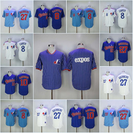 Wholesale Baseball Montreal - Men's Montreal Expos 8 Gary Carter 10 Andre Dawson Baseball Jersey 27 Vladimir Guerrero 45 Pedro Martinez High Quality Jerseys