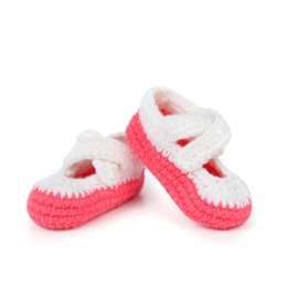 primeros caminantes del bebé del ganchillo Rebajas Toddler Baby First Walkers Shoes Calcetines Unisex recién nacido Zapatos de lana hechos a mano Soft Bottom Crochet Warm Prewalkers Footwear