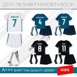 Wholesale Boys Youth Shirts - kids kit real madrid home white Soccer Jersey 17 18 madrid away boys Soccer Shirt 2018 Customized #7 RONALDO youth child football sets+sock