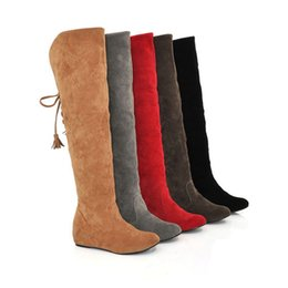 Wholesale Thigh High Open Toe Boots - Women Winter Hot Stretch Shoes Suede Fashion Flat Round Toe Over Knee Boots Flange Tassels Thigh High Long Knee High Boots