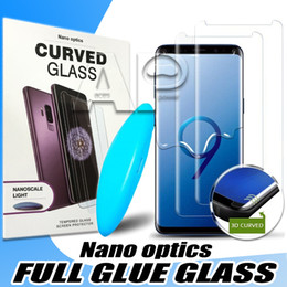 uv glasses Promo Codes - UV Tempered Glass For Iphone 11 Pro MAX XS XR X Samsung Galaxy S10e S10 Note 10 9 S8 Plus Full Liquid Glue