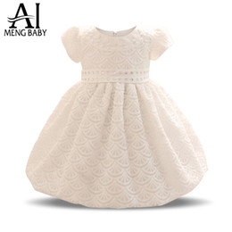 Wholesale Trendy Ball Gowns - Trendy Newborn Baby Baptism Clothes Girl Dress For 1 Year Birthday Infant Lace Christening Gowns Kids Party Dresses For Girls