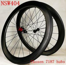 Wholesale Wheel Set Carbon Bike - Tubeless New 2 year warranty 58mm dimple wheelset 45 404 carbon wheels 50 bike rim 80 clincher wheelset