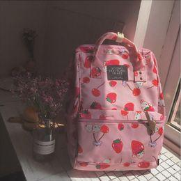 8494a44201ee Japanese Style Harajuku Backpack Girl Cute Cartoon Style Ulzzabg Backpack  Kawaii Strawberry Rabbit Leisure School Bag