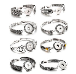 Wholesale Channel Flower - Hot Sale Snap Jewelry Silver 18mm Snap Buttons Bracelet Flowers Carved Vintage Snap Bracelets for Women Men Bangle Bracelets