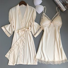 Wholesale house robes - New Bathrobe Set Ice Silk Sexy Pajamas Female Long Gowns For House Robe Clothes