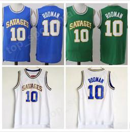 Wholesale Uniform High School - High School 10 Dennis Rodman College Jerseys Basketball Oklahoma Savages Jersey Men Color Blue White Green Breathable University Uniforms