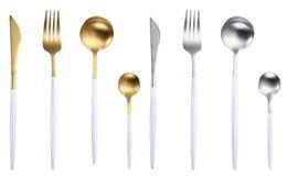 faca lidar com branco Desconto Faca de talheres de Portugal e colher garfo 304 utensílios de mesa de aço inoxidável ocidental