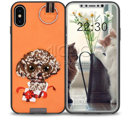 Wholesale Panda Packaging - Embroidery 3D Cute dog case for Samsung S8 Plus cartoon panda TPU PC with ring soft Back cover For iPhone X 8 7 6s Plus Retail package