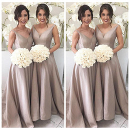Wholesale Taffeta Orange Bridesmaid Dress - 2018 V-Neck A-Line Long Bridesmaid Dresses Sweep Train A line Prom Gowns for Wedding Party Guest Formal Wear Custom