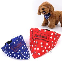 Wholesale Fast Bib - Fashion Pet Dog Collars Footprint Puppy Bib Saliva Triangle Towel Collar Scarf Pets Ornaments Fast Shipping