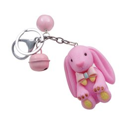 пластиковый мешок Скидка WXJCAN long ear big bear keychains Nylon rope & Metal small bell & Plastic pendant Carkey Bag accessories Birthday gift brelok