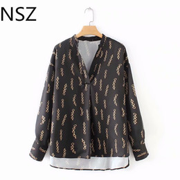 45353aa7c0 Women Chain Print Smock Blouse Long Sleeve V Neck Irregular Vintage Shirt  Female Casual Loose Wear Chic Top Blusas Mujer