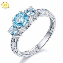 natural blue gemstones Promo Codes - Hutang 1.58ct Natural Blue Topaz Solid 925 Sterling Silver Ring For Women Engagement 3-stone Gemstone Fine Jewelry Vintage 11.11