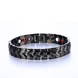 Wholesale germanium ion bracelet - Men Black Bracelets Titanium Steel Magnetic Therapy Heart Beads 4 In 1 FIR Negative Ion Healthy Germanium Bracelet drop shipping
