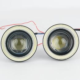 Argentina 2pcs impermeable proyector LED luz de niebla con lente Halo Angel Eyes anillos COB 30W Xenon azul blanco 12V SUV ATV Off Road lámpara de niebla supplier xenon lights for projectors Suministro