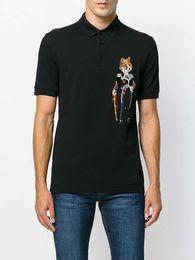 Wholesale T Shirts Flower Men - 2018 new hot Italian designer polo shirt T shirt luxury brand snake bee flower embroidery men polo high street fashion Polo T-shirt