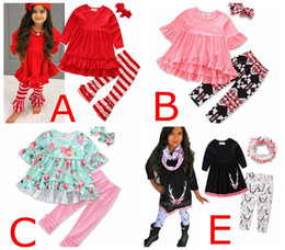 Wholesale Infant Lace Tops - Girls xmas floral print Sets Ruffled Red T-shirts Tops Lace Striped Pants 3Pcs set Fashion Girl Kids Apparel Boutique infant Clothes Suit