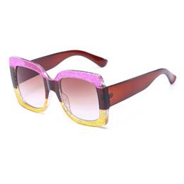 Wholesale Glitter Glasses Frames - 2018 Oversized D Square Sunglasses Red Black Green Three Colorblock Glitter Gradient Lens Steampunk Sun Glasses Shades