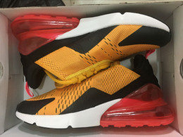 Wholesale pic gold - Real Pics 270 Tiger University Gold Hot Punch Mens Running Shoes 270s Flair Triple Black Man Trainer Sports Sneakers With Box