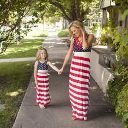 Robes simples pour enfants en Ligne-Mère Et Fille Drapeau Américain Dress 2018 Bébés Filles Robes À Rayures Enfants Et Parents Robes D'été Famille Tenues Assorties B001