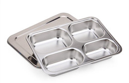 Wholesale Compartment Lunch Containers - Cheapest!!! Stainless Steel Bento Lunch Box food container with 4 Compartments with metal lid for school students