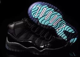 sapatas pretas da patente das crianças Desconto Confortável crianças tênis 11 tênis de basquete meninos meninas espaço Jam 11s 45 preto Patente legenda gamma azul concord pantone