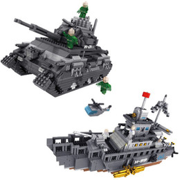 Wholesale Military Toys Tanks - PZX Micro Blocks Military Series Small Warship bricks Educational Assembly Tank Fighter Model Kids Gifts toys for Children #9910