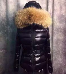 Camisola parka on-line-Mulheres da moda Para Baixo Casaco de Inverno Vestido Caixas Para Baixo Casaco Real 100% Casaco de Pele De guaxinim Destacável Gola Capuz Parkas Grosso S-XL