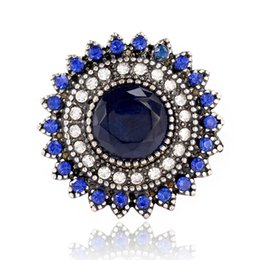 Wholesale Full Over - Blue Crystal Sunflower Women Finger Ring Micro Inlay Full Blue Zircon Adjustable Wedding Prom Wedding Party Bridal Jewelry Accessories
