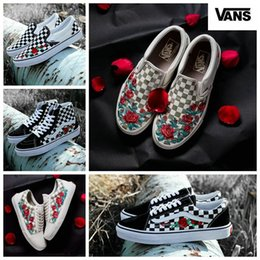 d416c83779 shoes deporte Coupons - VANS Old Skool AMAC Customs Rose Embroidery  Skateboard Canvas Casual Skate Shoes