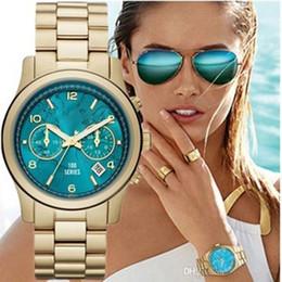 Wholesale Geneva Classic Watch - 2017 New Fashion Faux Chronograph Plated Classic Geneva Quartz Ladies Watch Women Crystals Wristwatches Relogio Feminino