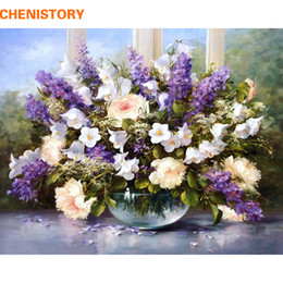 Wholesale Flower Acrylic Paintings Canvas - Wholesale-CHENISTORY Romantic Flower DIY Digital Oil Painting By Numbers Kit Acrylic Painting On Canvas Home Decor Wedding Room Decoration