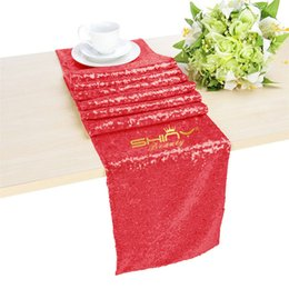Wholesale Red Christmas Table Runner - Sequin Fabric 12x72inch Red Embroidery Sequin Table Runner For Wedding and Christmas Decoraitons 30cm by 180cm