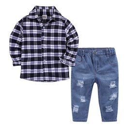 640f43091b36 Spring 2018 Summer baby clothing boy long sleeve shirt jeans suit Menbao  Europe and America 2 pieces set .