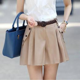 Wholesale Casual Belts For Shorts - Wholesale- 2017 Woman Summer Shorts High Waist Wide Leg Shorts Black Mini Short No belt Plus Size Causual Oblique Button Short for Women