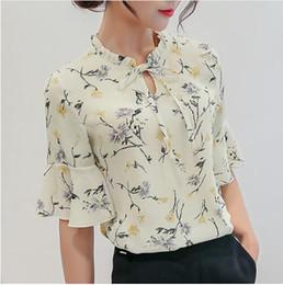 Wholesale Print Work Blouse - Women Blouses 2018 Chiffon Print Ruffles Sleeved Blusas Work Shirts For Womens Elegant Blouses Plus Size Female Summer Tops 014