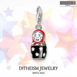 Wholesale Russian Silver Jewelry - Matryoshka Russian Doll Charms Pendant,2018 Jewelry 925 Sterling Silver Ethnic Gift For Women Girls Fit Bracelet Necklace Bag