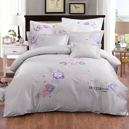 Wholesale Embroidered Pink Duvet Covers - 4 Colors 60S long staple cotton embroidered girls Bed Set king queen size bedding set soft bed sheet duvet cover pillow sham