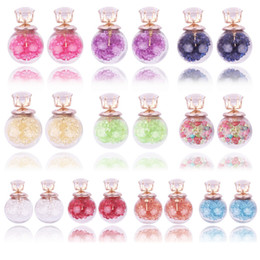 Wholesale glass ball christmas ornaments - European Earring Korean Glass Two-sided Rhinestone Quicksand Zircon Crystal Ball Ear Nail Earring Woman Earrings Ornaments