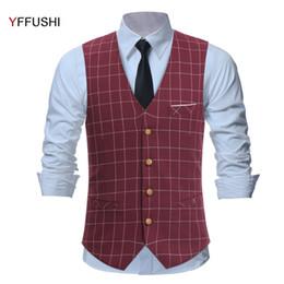 Wholesale Chaleco Slim Fit - YFFUSHI New Design Men Vest Classic Red Plaid Vest Chaleco Hombre Men England Wedding Groom Slim Fit Fashion Casual