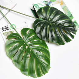 Зеленый офис онлайн-Большой Искусственный Тропический Завод Черепаха Листья Крытый Открытый Растения Сад Домашнего Офиса Декор Поддельные Зеленые Листья