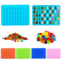 Wholesale mould cavity - 50 Cavity Bear Silicone Molds with Free Dropper Cake Chocolate Moulds Bakeware Kitchen Accessories Home Decor Wedding Party Decorations