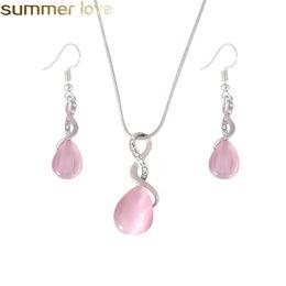 59c6f0176304 Nuevo diseño rosa ópalo collar pendientes y anillo de joyería conjunto joya natural  piedra gota gota de agua collar pendiente conjunto joyería para mujeres