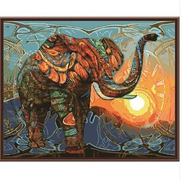 Lacknummern kits online-Rahmenlose Vintage Malerei Elefant DIY Malen Nach Zahlen Kits Acrylfarbe Auf Leinwand Home Wall Art Bild Kunstwerk 40x50 cm